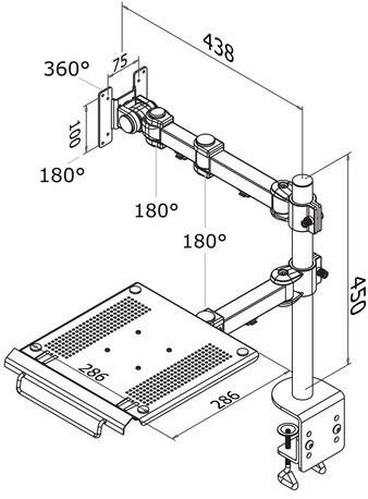 """Laptoparm Newstar D960 10-27"""" met klem zwart-2"""