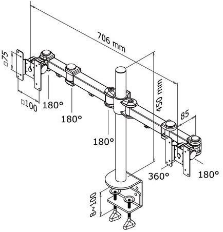 """Monitorarm Newstar D960D 2x10-27"""" met klem zwart-2"""