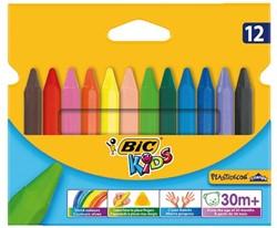Kleurkrijt Bic 857 plastidecor triangel ass etui à 12st