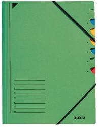 Sorteermap Leitz 7 tabbladen karton groen