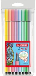 Viltstift STABILO Pen 68 pastel etui à 8 kleuren