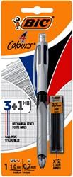 Balpen Bic 3kleuren met vulpotlood HB 0.7mm blister
