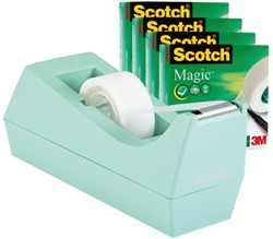 Plakbandhouder Scotch C38 mint + 4rol magic tape 19mmx33m