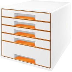 Ladenblok Leitz WOW 5 laden wit/oranje
