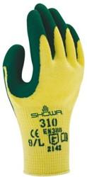 Handschoen Showa 310 grip latex groen/geel small
