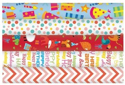 Inpakpapier Haza happy birthday 200x70cm assorti