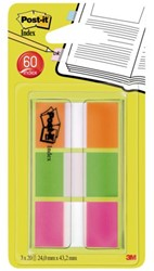 Indextabs 3M Post-it 680OLP 24mmx43.2mm oranje/groen/paars