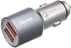 Autolader Hama USB-A 2X 4.8A snel grijs