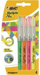 Markeerstift Bic flex ass blister à 4 kleuren