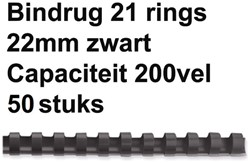 Bindrug Fellowes 22mm 21rings A4 zwart 50stuks