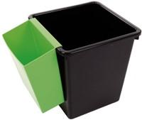 Papierbak kunststof vierkant taps 21liter zwart-2