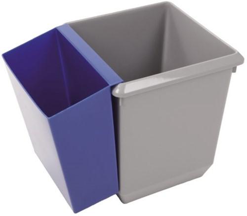 Papierbak kunststof vierkant taps 27liter grijs-3