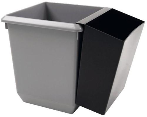 Papierbak kunststof vierkant taps 21liter grijs-1