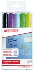 Viltstift edding 90 glasbord ass blister à 5 kleuren incl zw