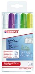 Viltstift edding 90 glasbord ass blister à 5 kleuren incl wt