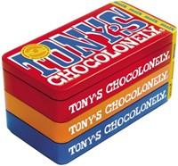 Chocolade Tony's Chocolonely reep 180gr in blik puur-melk en karamel zeezout-3