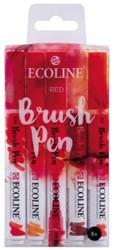 Brushpen Talens Ecoline set-rood blister à 5 stuks ass