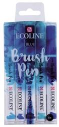 Brushpen Talens Ecoline set-blauw blister à 5 stuks ass