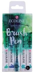Brushpen Talens Ecoline set-groenblauw blister à 5 stuks ass