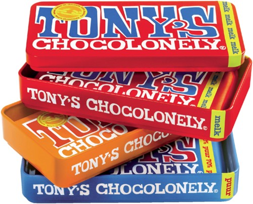 Chocolade Tony's Chocolonely reep 180gr in blik puur-melk en karamel zeezout-2