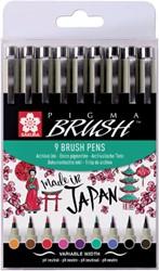 Viltift met brushpen Bruynzeel Sakura Pigma etui à 9 kleuren