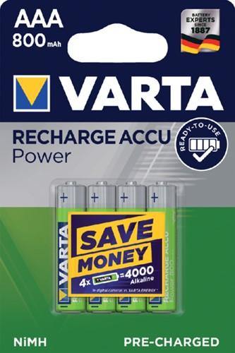 Batterij oplaadbaar Varta 4xAAA 800mAh ready2use
