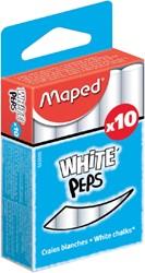 Schoolbordkrijt Maped Color'Peps wit stofvrij doosje à 10 stuks