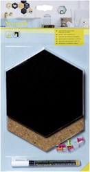 Krijt+ prikbord Securit Hexagon set 7 stuks zwart + 1 marker