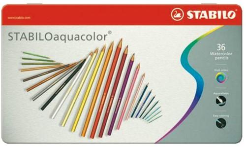 Kleurpotloden STABILO aquacolor 1636 blik à 36 kleuren