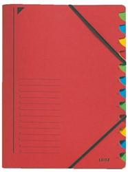Sorteermap Leitz 12 tabbladen karton rood