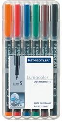 Viltstift Staedtler Lumocolor 313 permanent S set à 6 stuks assorti