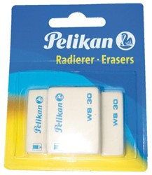 Gum Pelikan WS30 Potlood zacht 37x30x9mm 3 stuks op blister