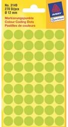 Etiket Avery Zweckform 3149 rond 12mm lichtgroen 270stuks