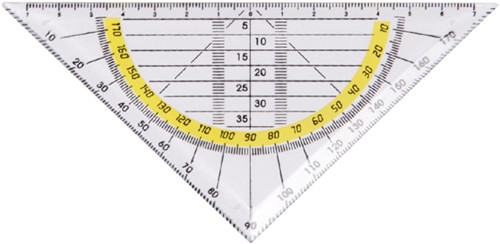 Geodriehoek Quantore 140mm transparant-3