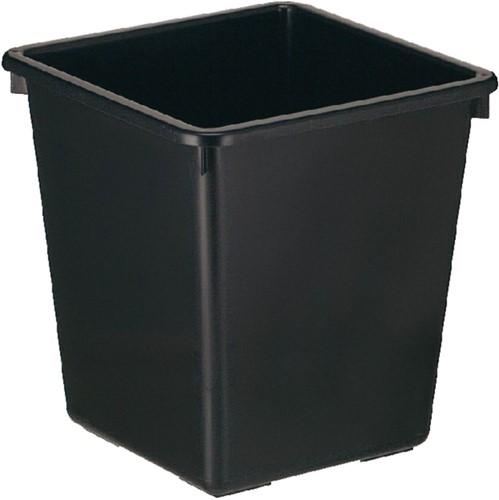 Papierbak kunststof vierkant taps 21liter zwart