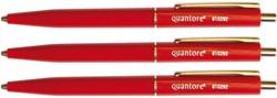 Balpen Quantore drukknop met metalen clip rood medium