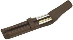 Pennenetui 212 2delig nerfleer bruin