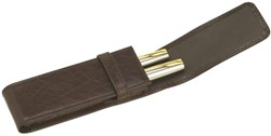 Pennenetui 322 2delig nerfleer bruin