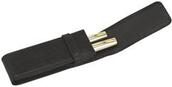 Pennenetui 322 2delig nerfleer zwart