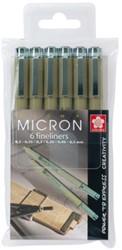 Fineliner Sakura pigma micron set 6stuks zwart